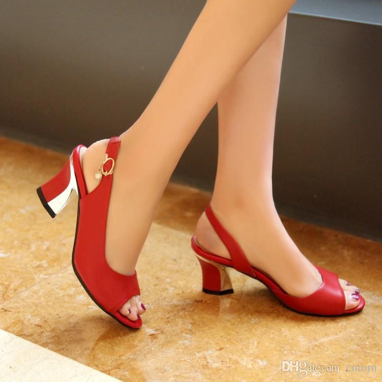 Sandales Cuir Véritable Neuf 40 41 42 43 Talon Haut 6CM Classique Haute Qualité Rouge Femme Été petits yards EUR Taille 33-44