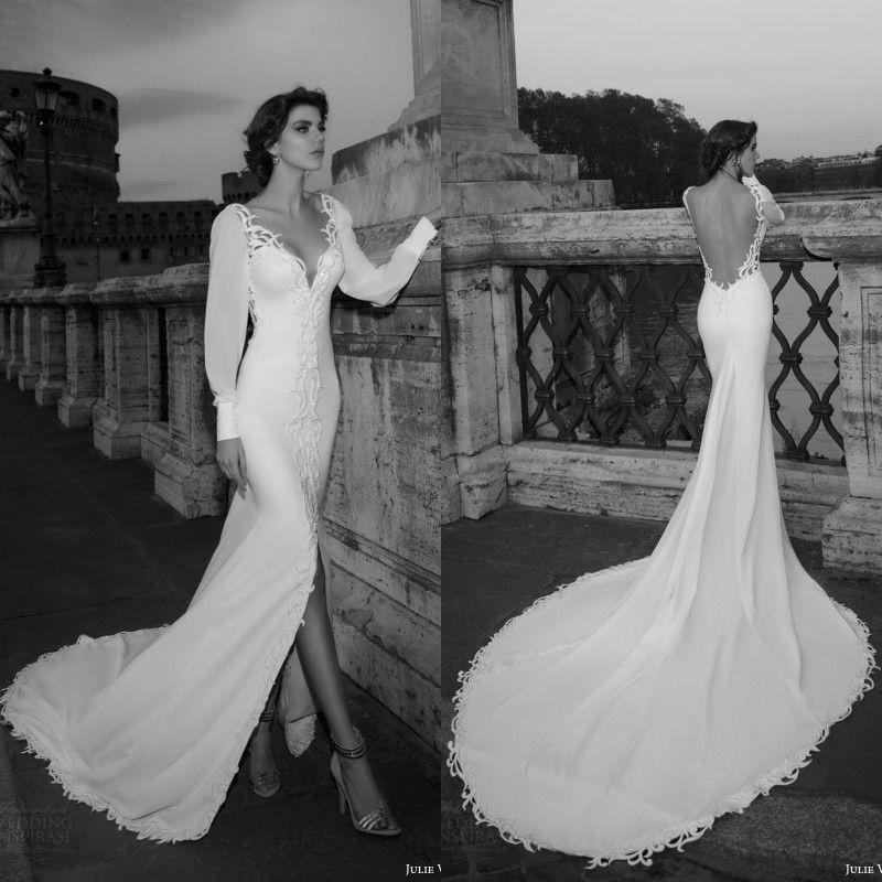 4230b8d705b 2016 Summer Beach Split Wedding Dresses Mermaid Style 2017 Julie Vino  Chiffon Long Sleeve V Neck Open Back Chapel Trian Bridal Gowns EN52713 Off  The Rack ...
