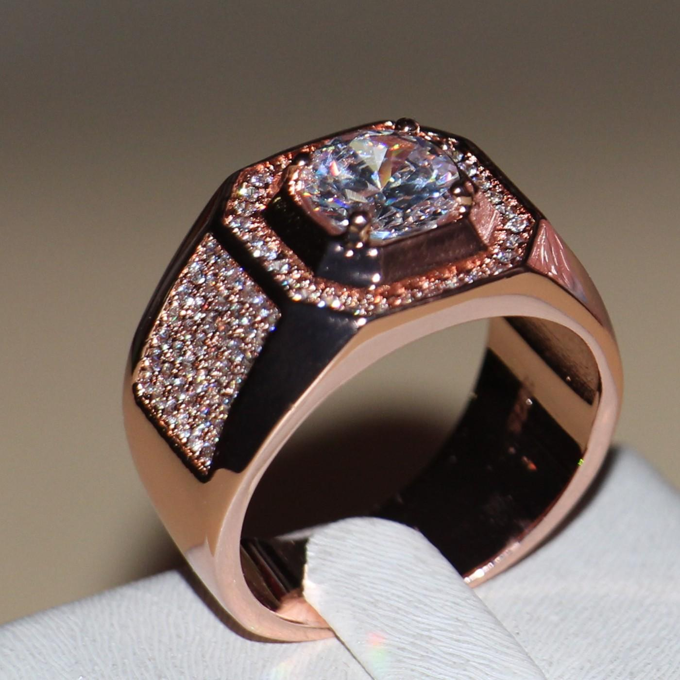 Tamaño 8/9/10/11/12/13 2016 la venta de los hombres calientes redonda de la joyería cortó 8MM topacio anillo de plata 925 chapado en oro banda CZ Diamond Rose para el regalo del amor