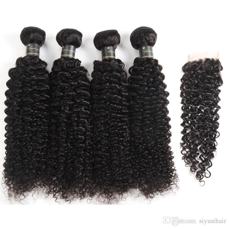 Brazilian Virgin Hair Deep Wave Loose Wave Water Wave Kinky Curly Hair 3 or 4 Bundles With Closure Human Hair Bundle Lace Closure