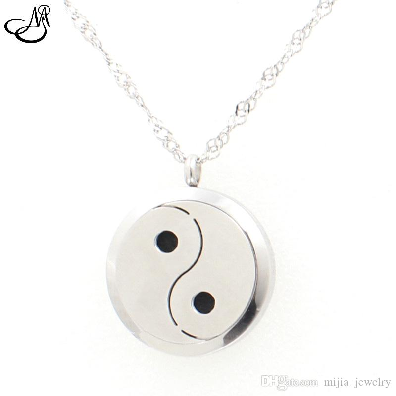 Tai Chi/Ying Yang Aromatherapy / Essential Oils surgical Stainless Steel Perfume Diffuser Locket Necklace MIA548