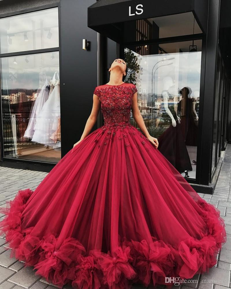 Burgundy Ball Gown Prom Dresses 3d Floral Appliqued Lace Beaded ...