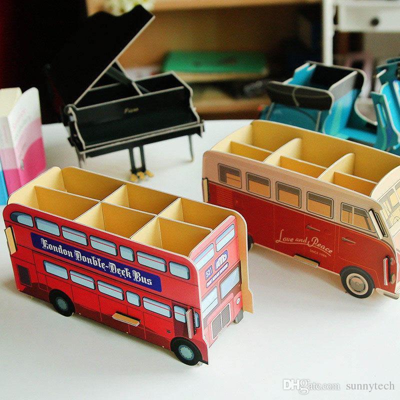 Creative DIY Paper Desktop Storage Box Cute Office Stationery Holders Pen Cases Pencil Storage Rack Desk Accessories Orangizer LZ0447