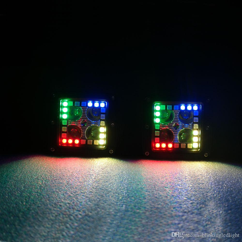 3X3 Inch 12W Led Work Lights with RGB Chasing Halo Ring Remote Controller Flashing Tons of Flashing Modes Free Wiring Harness