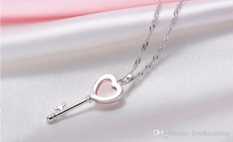 HYWo without chain Luxury Design QUARTZ pink crystal love key pendant necklace Hypoallergenic jewelry gift for women