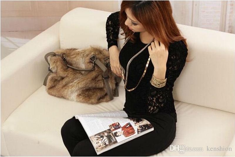 2019 bolsa de couro das mulheres moda faux pele de coelho totes stud sacos bolsa de ombro de inverno cross-corpo legal messenger bag bolsa de rebite - TM003