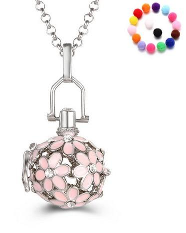 Fashion Pendants Necklace Pregnancy Baby Chime Ball Rhinestone Circle Angel Necklace For Women Jewelry