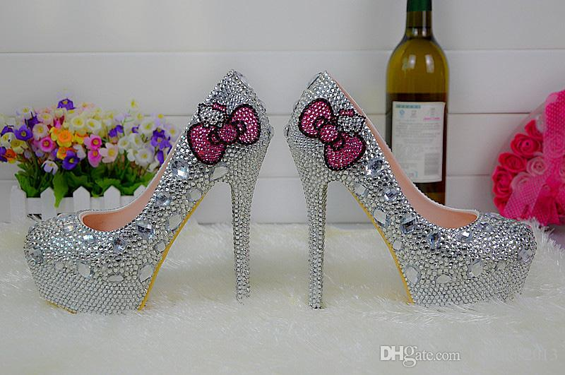 Kitty Silver Strass SHINESTONE Mariage Mariage Chaussures Graudération Fête Chaussures Haute Chaussures Chaussures Formel Robe Pumps Plus Taille