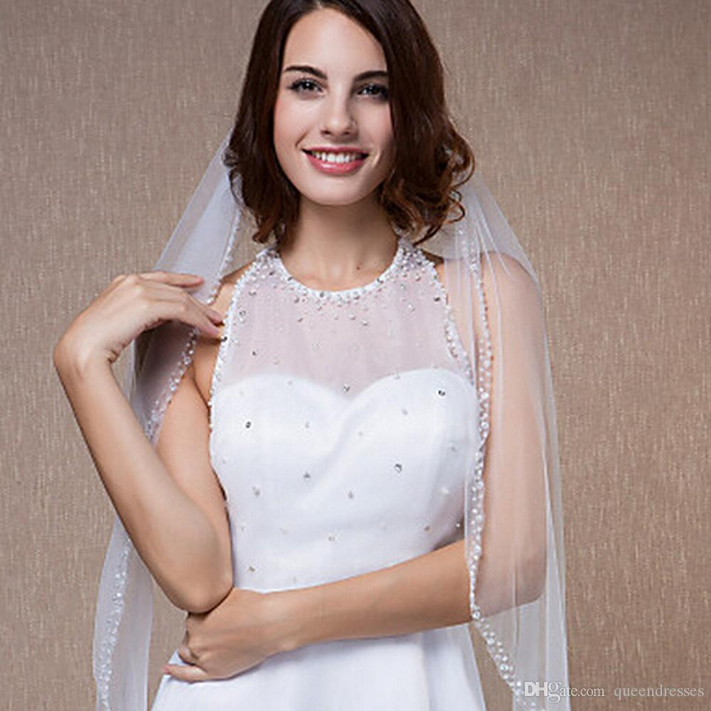 New Best Selling In Stock Elbow Length 2 Layers Bridal Veil White Beading Tulle Wedding Veils Ivory White for Wedding Events Online