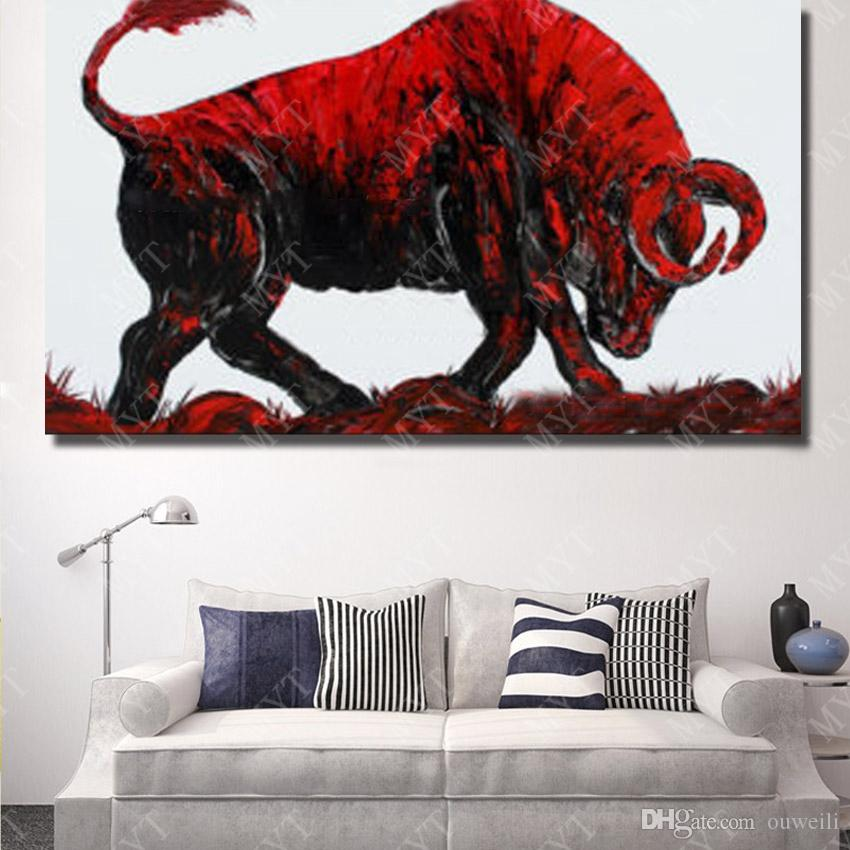 Canvas oil painting not framed hand painted abstract home wall decor angry bull animal painting