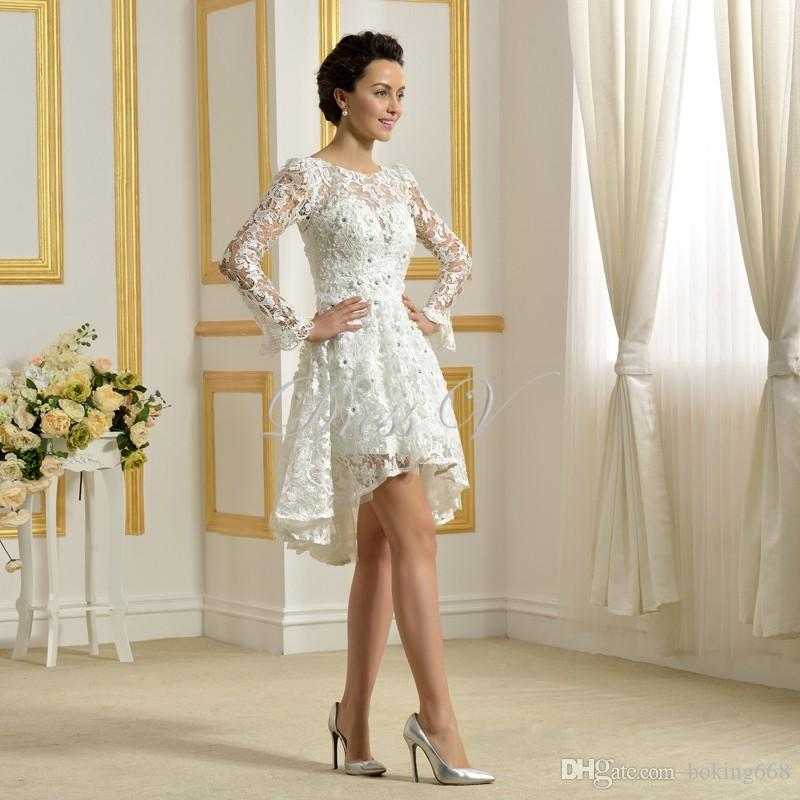 642d3de58dd3 Discount 2019 Delicate Above Knee Length Wedding Dresses White Lace Scoop  Sheer Applique Beadings Short Front Long Back Bride Dresses The Wedding  Dresses ...