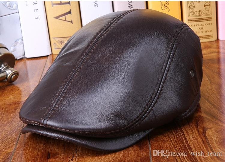 Winter Genuine Leather Windproof Duckbill Man Beret Cap Senior Men Winter Autumn Black Brown Ear Protection Warm Hats For Male