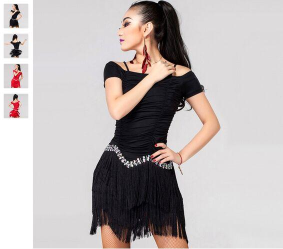 857322d0519 2019 2018 Latin Dance Costumes For Women Competition Red Black Tassel Cha  Cha Rumba Samba Cowboy Paso Doble Latin Dancing Dresses From  Dancingqueen88