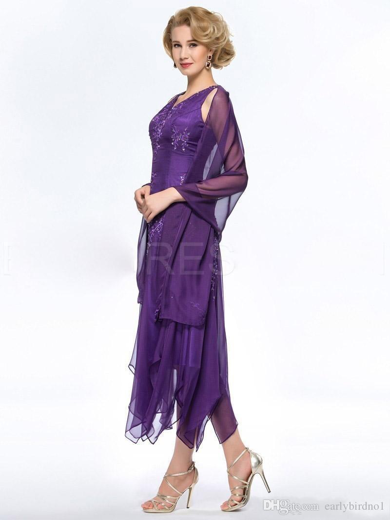 2017 Nueva Elegante Púrpura Madre de la Novia Vestidos de Novios Con Cuello En V Apliques Con Cuentas Vestidos de Novia de la Madre Vestidos de Fiesta Formales Más El Tamaño