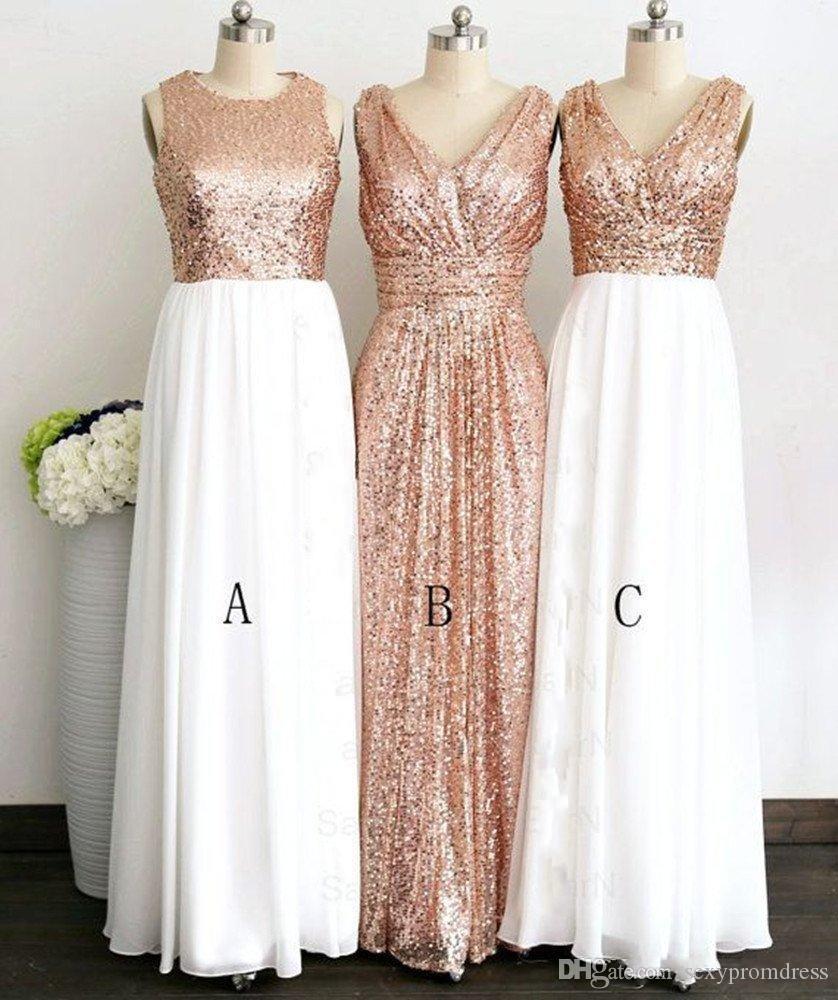 Compre Rose Gold Lantejoulas Três Estilo Diferente Longo Vestidos Dama De Honra Para O Casamento Elegante Dama De Honra Vestidos De Mulheres Formais