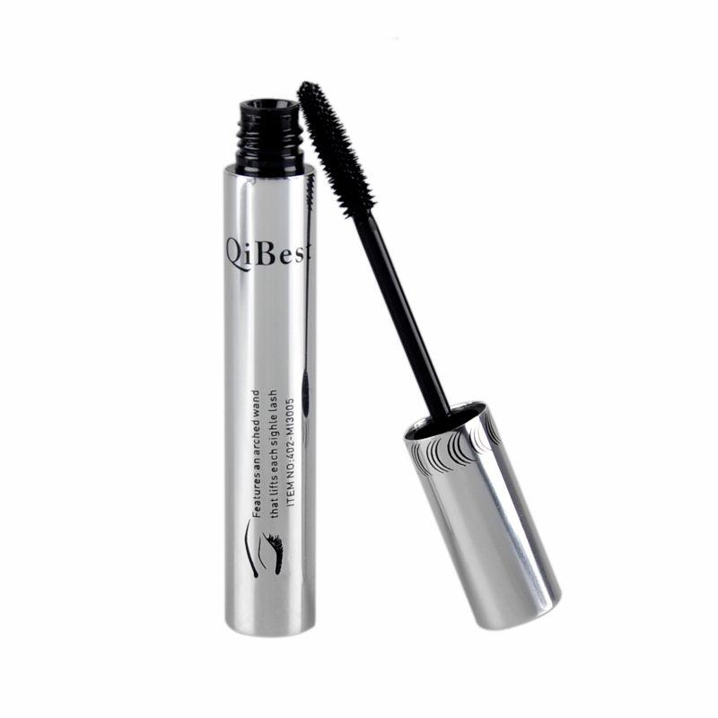QiBest Mascara Set Lash Eyelash Waterproof Mascara Liquid Black con Silver Tube Silve Box 2801038