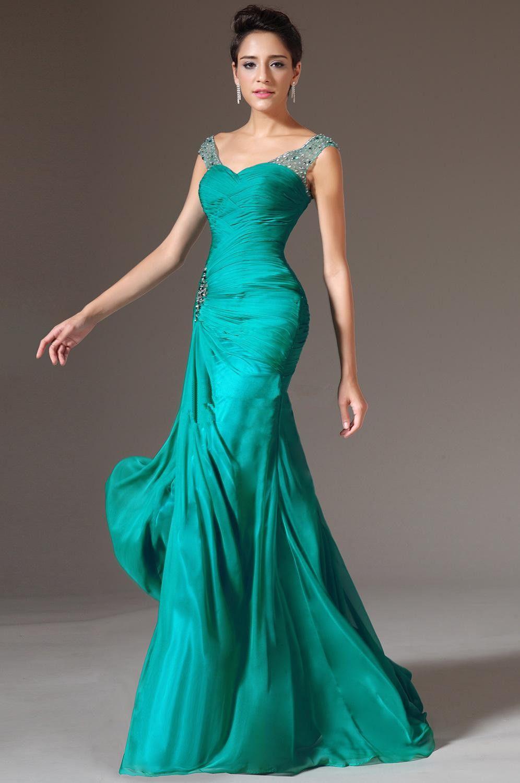 Sexy Design Mermaid V-neck Floor Length Prom Dresses Floor Length Turquoise Chiffon Bridesmaid Beaded Sequins Charming Evening Dresses