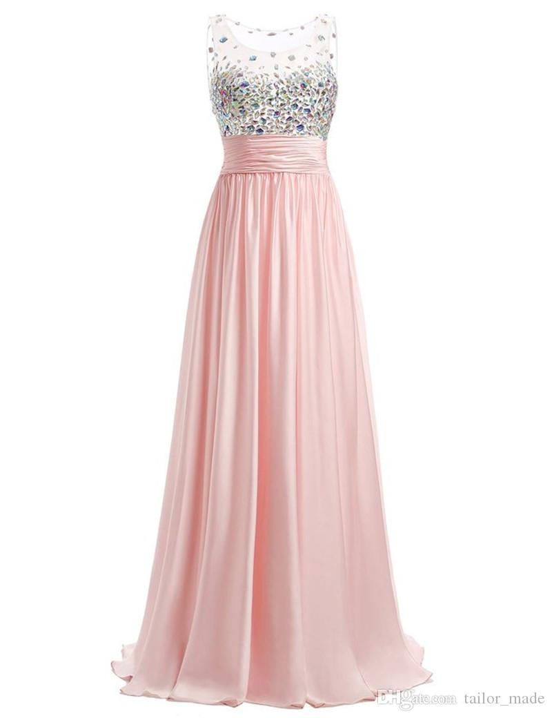 See Through High Quality Crystal Pleats Vestido Longo Evening ...