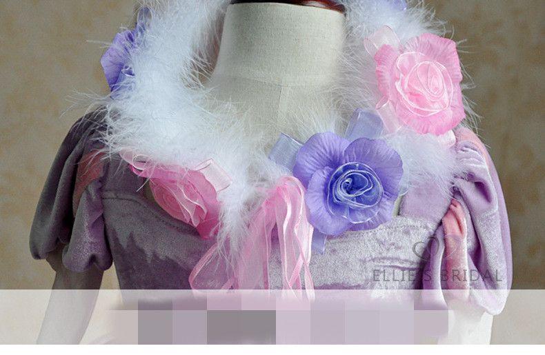 elegant formal girl Tutu dress purple princess Communion party dress for girls children kids vestido party performance clothes hot