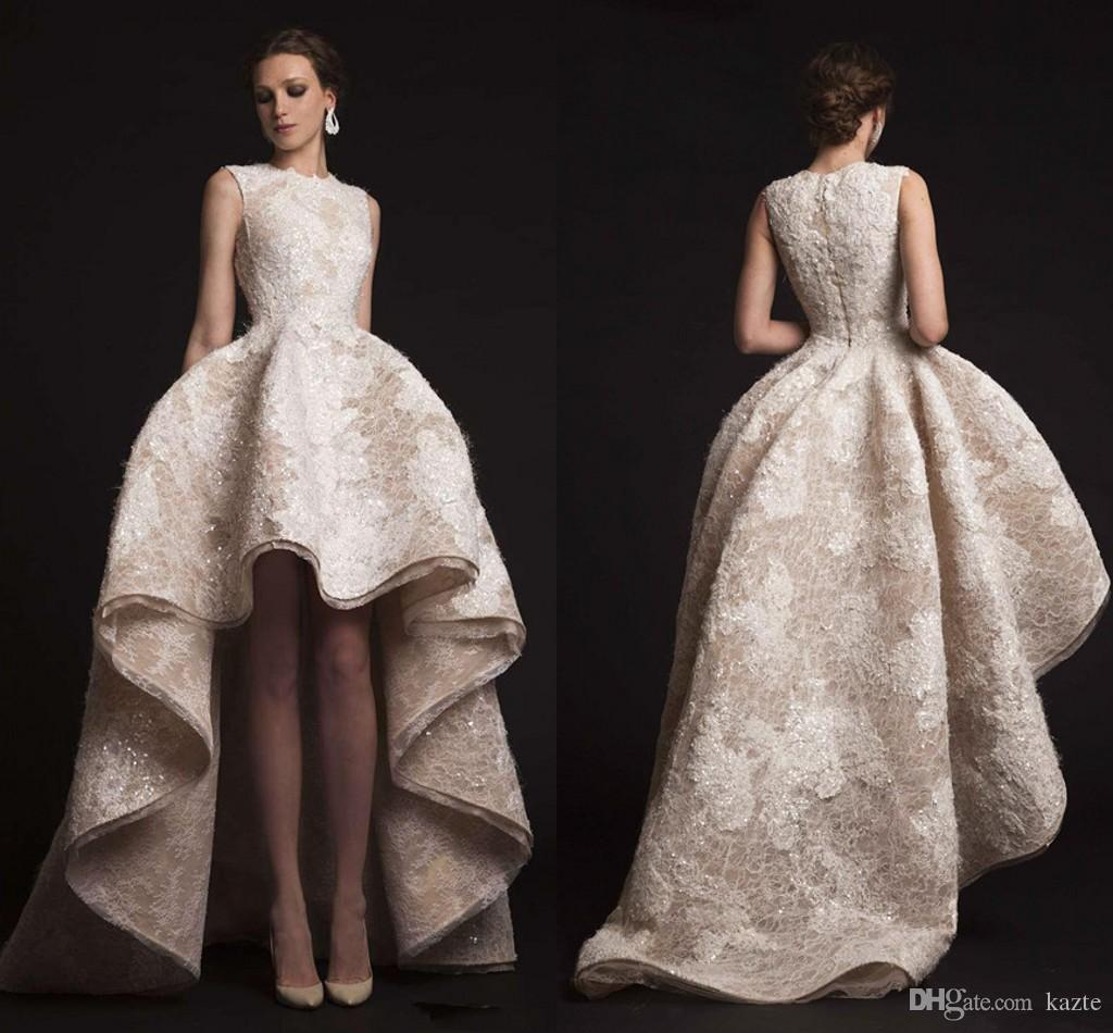High Low Vintage Ball Gown Lace Beaded Champagne Wedding Dresses ...