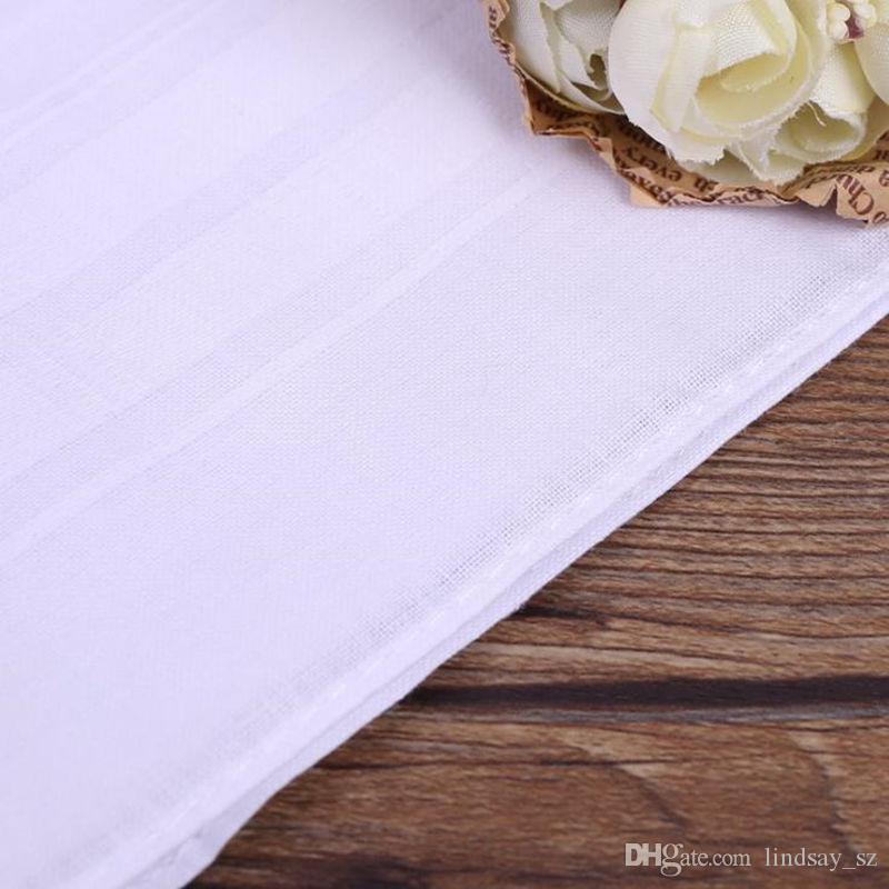 Pure White Hankerchiefs 100% Cotton Male Table Satin Handkerchief Towboats Mens Suit Pocket Square Handkerchief whitest