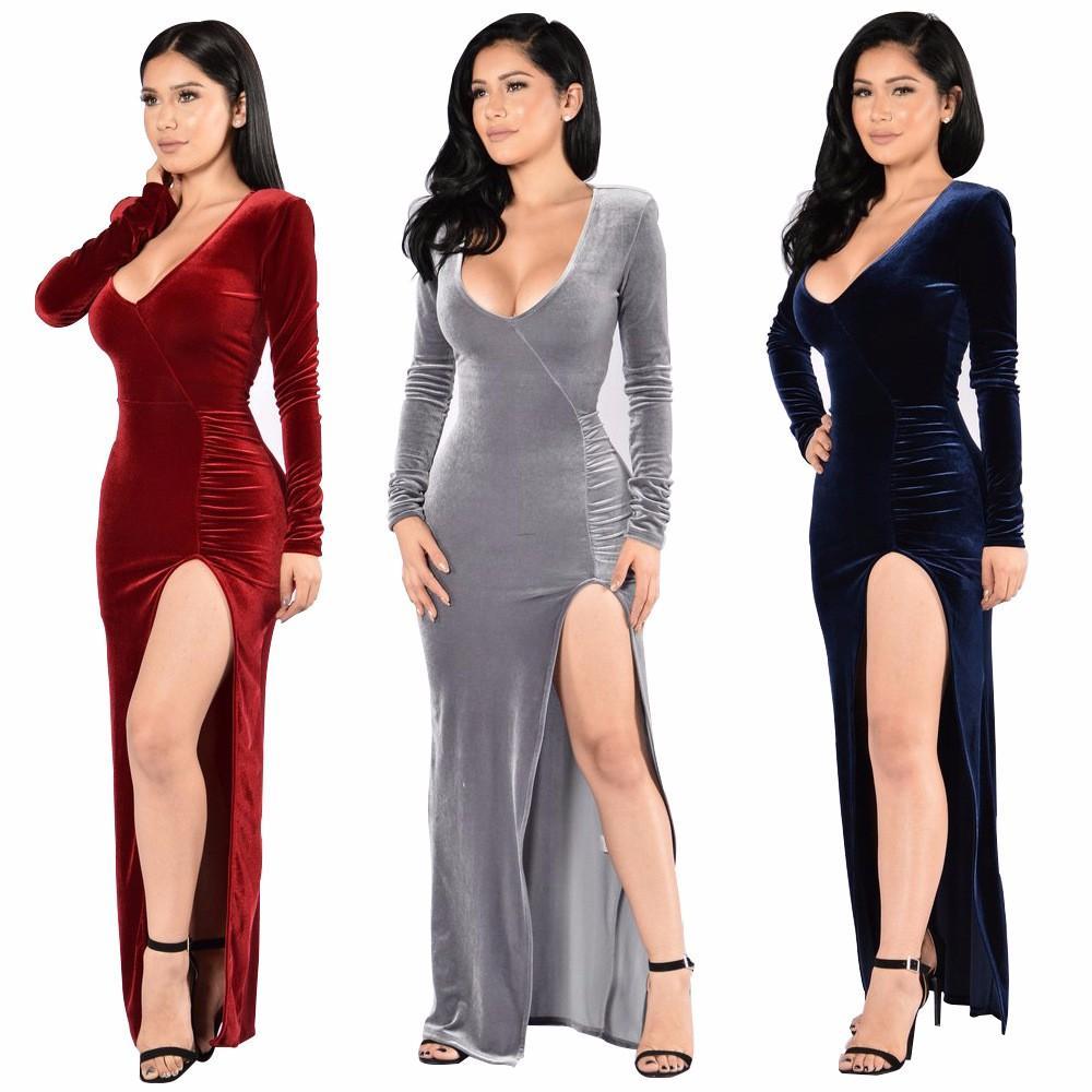 2017 Winter Club Velvet Dress 2017 Christmas Fashion High Slit ...