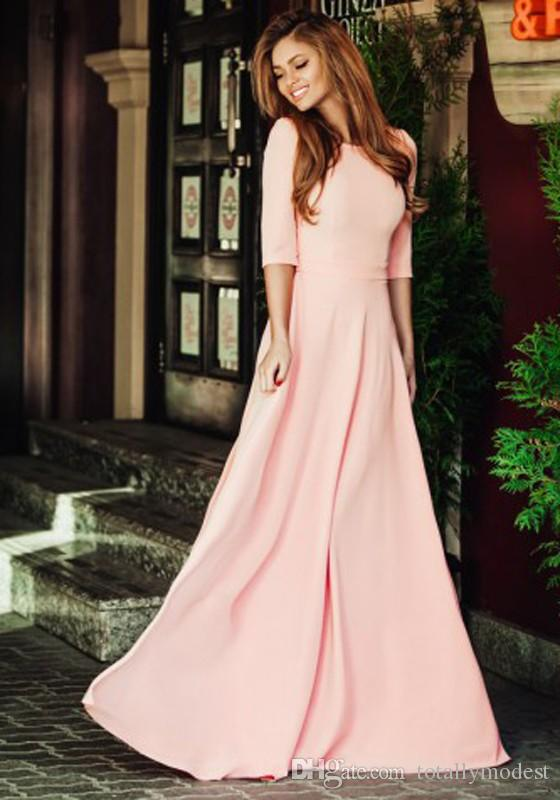 Coral Long Satin Modest Bridesmaid Dresses With Half Sleeves A-line Floor Length Wedding Party Guests Dresses Modest Cheap Custom Made