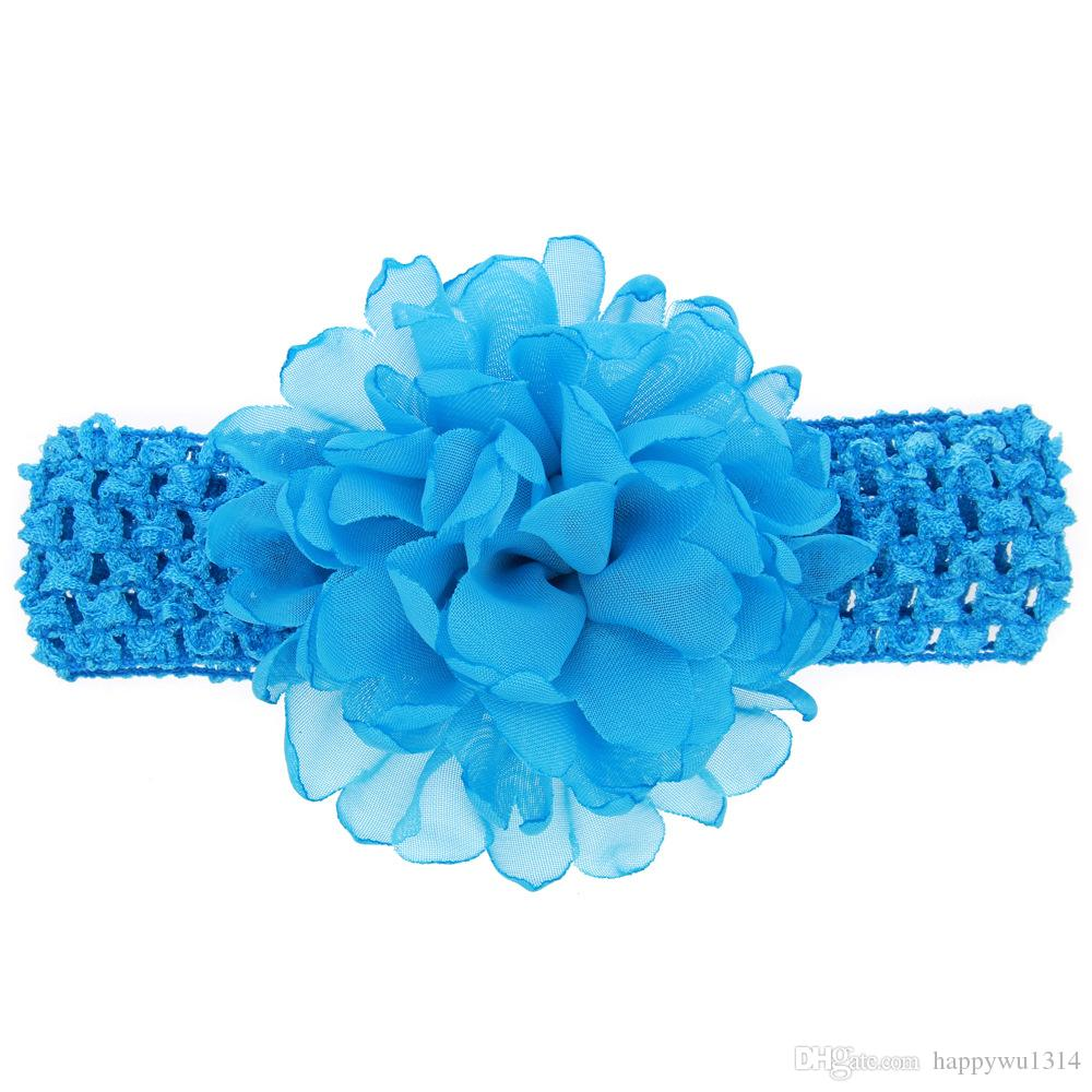 Childrens Acessórios Para o Cabelo Chiffon Flores Headbands Crochet Bebés Meninas 4 Polegadas Chiffon Flores para Headbands Bebês Infantis Elásticos Hairbands