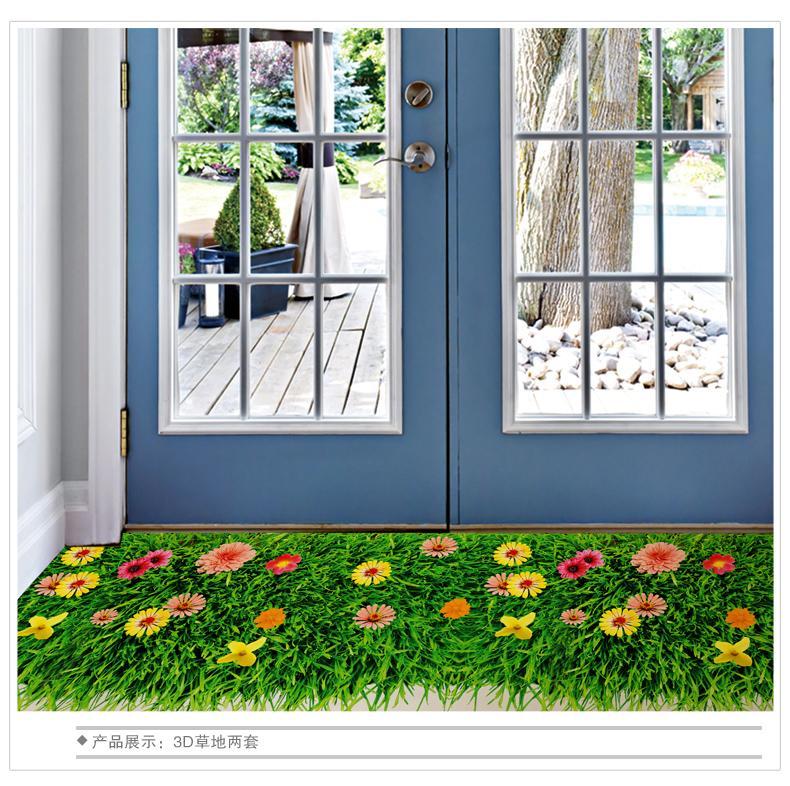 3D Flor Colorida Etiqueta de La Pared Hierba Mariposa Trébol Zócalo Línea Flora Piso DIY Inicio Calcomanía Muebles Cocina Mural de La Boda