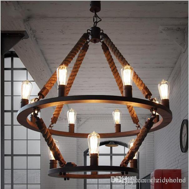 Loft hanging lights vintage rope light double layers iron hanging loft hanging lights vintage rope light double layers iron hanging lamp manmade fixtures industrial style hotel pub decoration outdoor pendant lighting led mozeypictures Choice Image