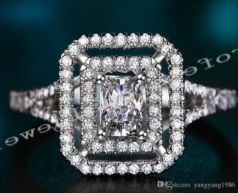 Victoria Wieck Gioielli di lusso Più Nuovo 10KT White Gold Filled Topazio Bianco Diamante Simulato Wedding Fidanzamento Donne Anello Fascia Regalo Dimensione 5-10