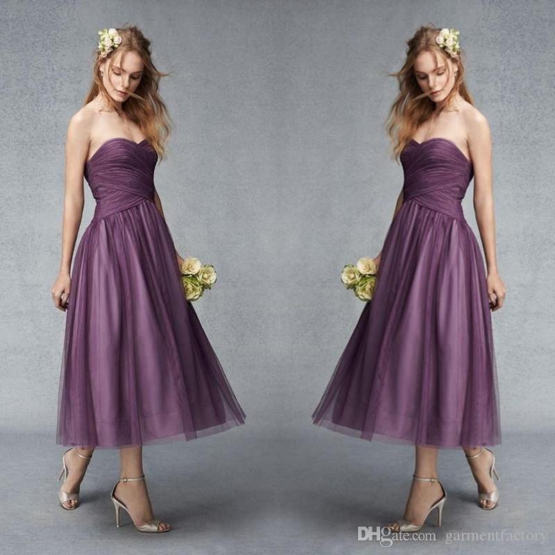 Compre Vestidos Wisteria Té Púrpura De Dama De Longitud Vestidos De ...
