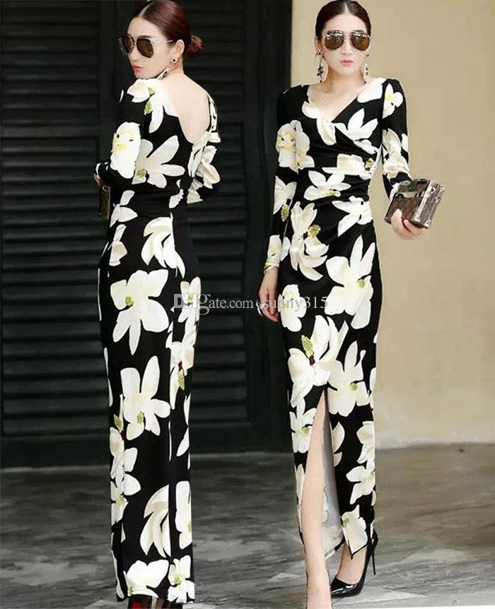 Autumn Winter 2017 Sexy Women V Neck Backless Floral Print Long Dress Split Bodycon Dresses Sheathy Organza Bandage Dress