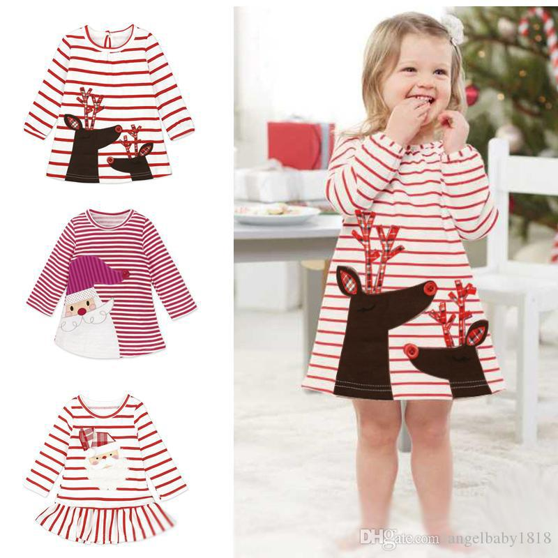 2851241b377dc 2017 New Christmas Girls Dress Santa Claus Princess Dresses Baby Girl  Autumn Winter Stripe Skirts Kids Xmas Clothes