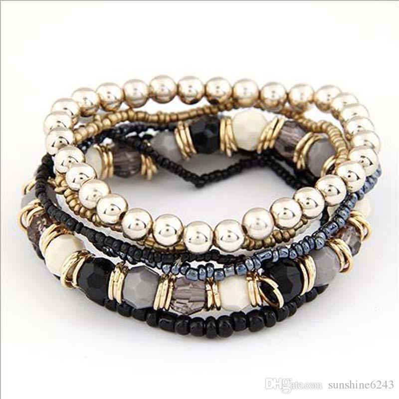 2017 Hot! Bijoux d'été en gros Bohème MutiLayer Perles Bracelets Bracelets pour Femmes Élastique Brin Livraison Gratuite