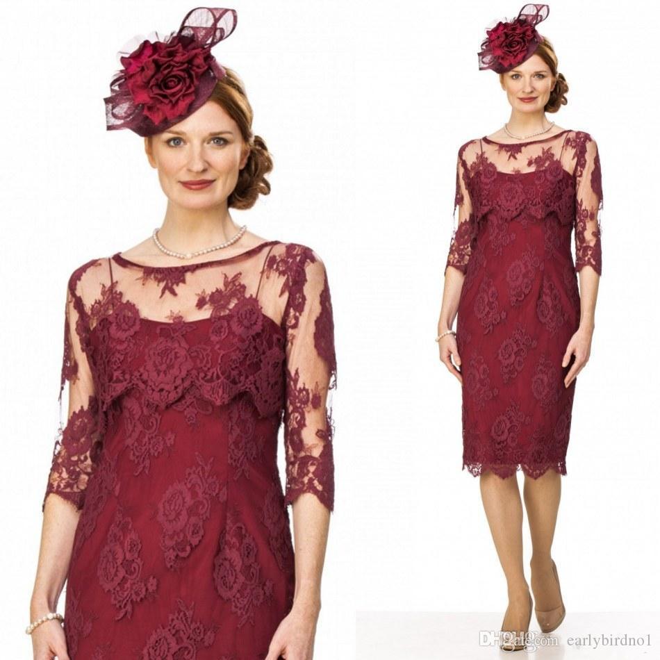 3acf9eebb89 Acheter 2017 New Vintage Bordeaux Dentelle Robes De Mère Élégant Scoop Demi Manches  Longues Mère De La Mariée Robes Plus La Taille Robes De Fête De Mariage ...