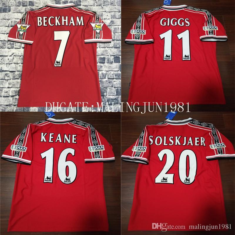 2d5ff7d66 Velvet Nombre Número 98 99 Hombre Beckham Keane Solskjaer Giggs 3 Campeones  Retro Camiseta De Fútbol UTD 1998 1999 U Camiseta Clásica De Fútbol Vintage  Por ...