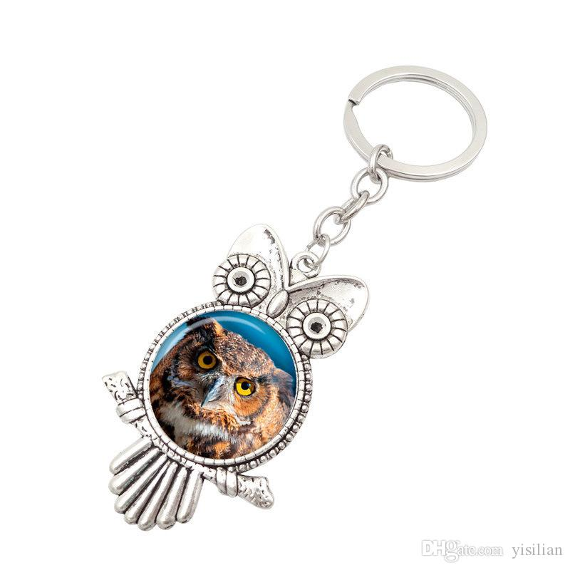 Freies Verschiffen Retro- Eulen-Zeit-Edelstein-Metall Keychain heißes Keychain R149 Künste und Fertigkeitmischungsauftrag