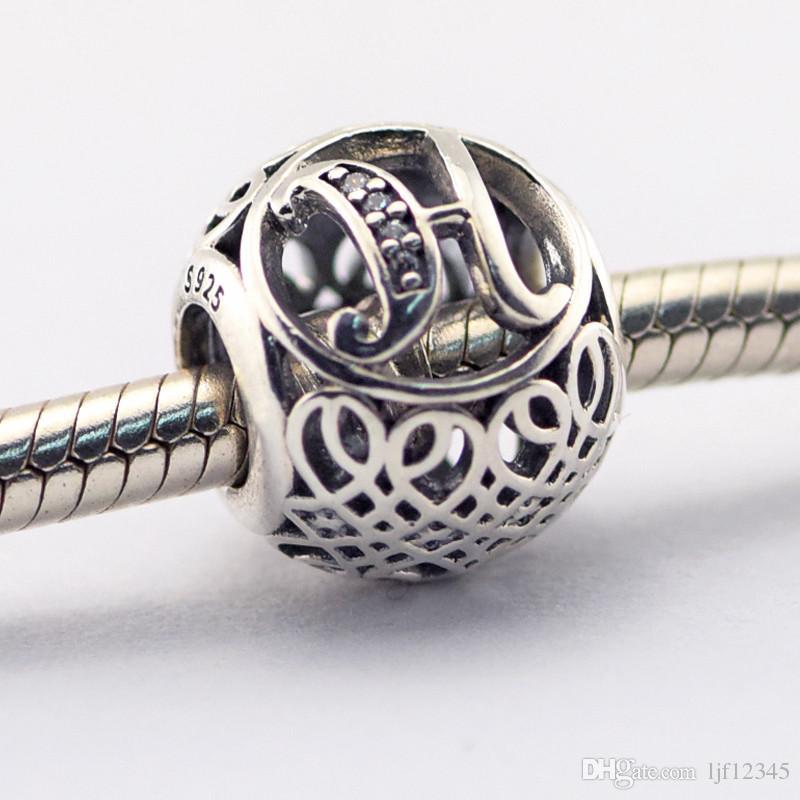 Vintage Letter H Clear CZ Beads Fits Pandora Bracelets Beads Authentic Sterling-Silver Beads DIY Charm Wholesale Charms LE015-H