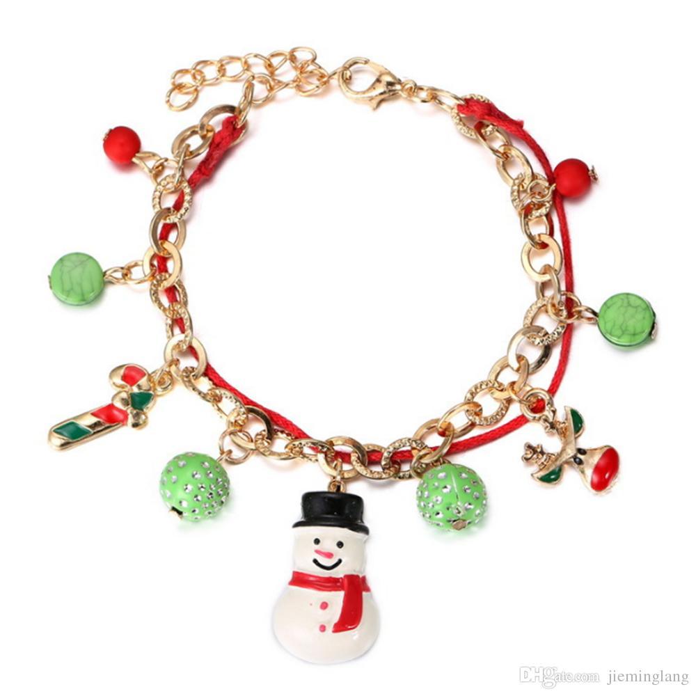 buy popular aa228 5893d Gioielli moda 2016 Bracciale portafortuna da 7 pollici Bracciale con  ciondolo pupazzo di neve in oro placcato oro rosso. Regalo natalizio