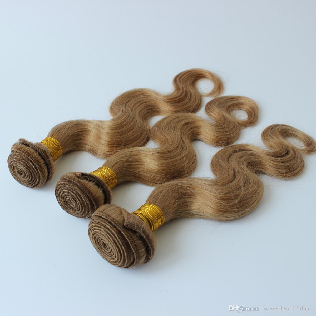 Ondas brasileñas del cuerpo 3 paquetes de armadura del cabello humano rubio Onda brasileña del cuerpo del cabello virgen # 27 Paquetes de cabello brasileño rubio dorado