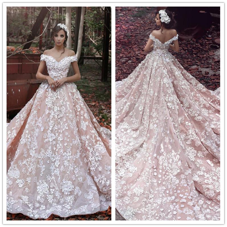 pink lace wedding dress fashion said mhamad blush pink lace wedding 6585
