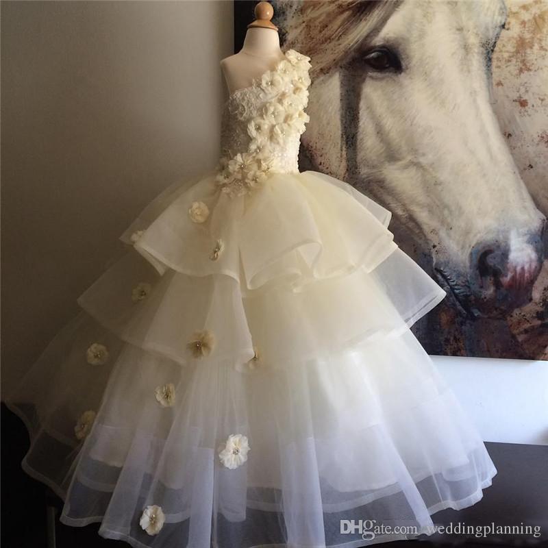 꼬마 소녀를위한 2018 Glitz 미식가 드레스 무료 배송 Vestido De Daminha Infantil One Shoulder Flower Girl Dresses