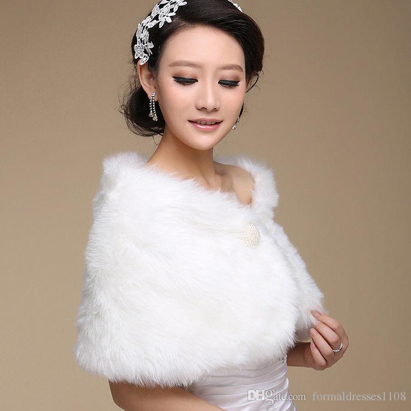 2017 Fildişi Kış Düğün Ceket Gelin Faux Kürk Sarar Sıcak şallar Giyim Siyah Bordo Beyaz Kore Tarzı Kadın Ceket Balo Akşam Parti