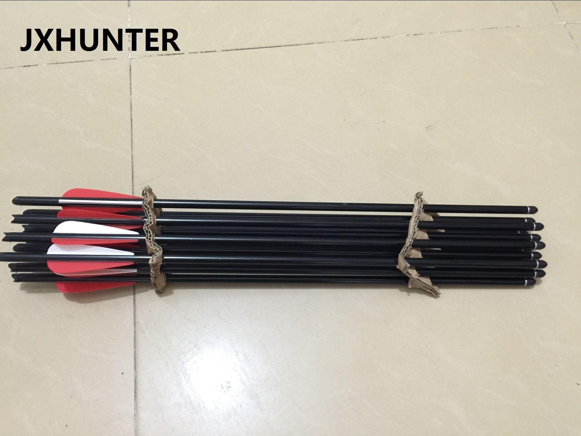 12 pezzi Caccia al tiro con l'arco arrow balestra freccia in alluminio da 20 pollici con bulloni con 100 punti bersaglio