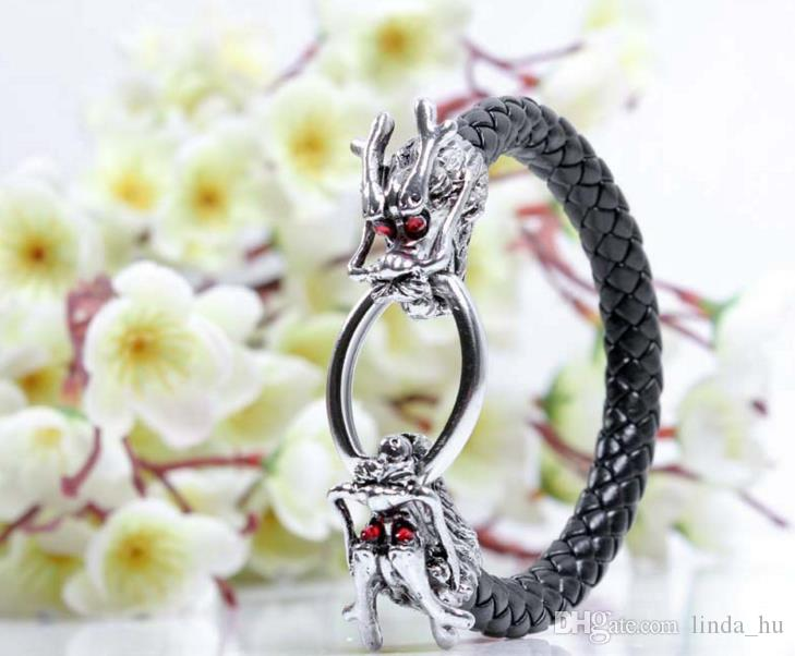 Hot fashion jewelry Men's European and American style red eye dragon bracelet personalized alloy woven leather jewelry