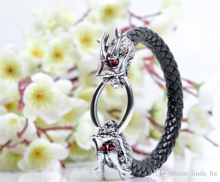 Hot moda jóias estilo europeu e americano dos homens red eye pulseira dragão personalizado liga de couro tecido jóias