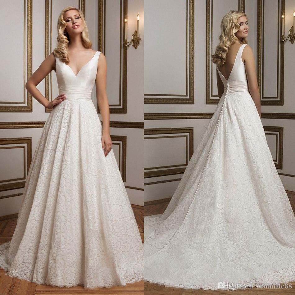 Discount Wholesale Weddings Dresses 2016 V Neck Empire Lace ...