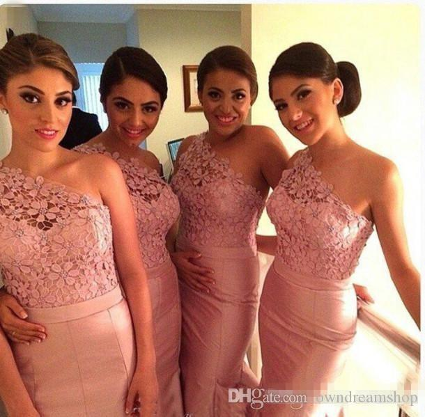 One Shoulder Pink Taffeta Plus Size Bridesmaid Dresses 2016 Vintage Open Back Mermaid Garden Country Wedding Evening Gowns Custom Mad Cheap