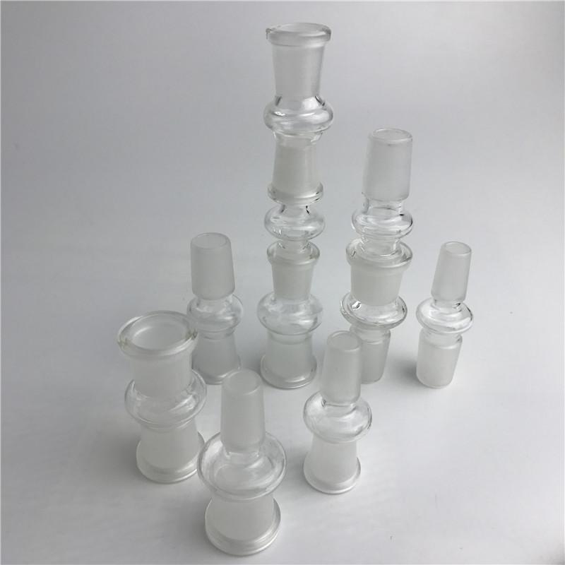 adaptador de vidro com 10 estilos 14mm 18mm masculino feminino adaptador de bongo de vidro transparente para tubo de água de vidro